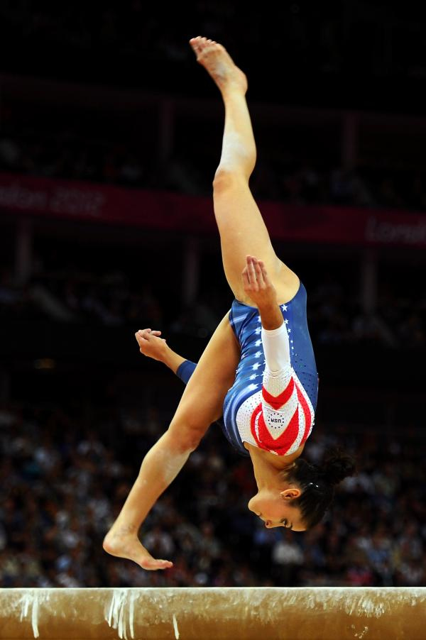 U.S. gymnast Alexandra Raisman competes during the artistic gymnastics women's beam final. She won bronze for the event and won gold for her performance in the floor exercise.