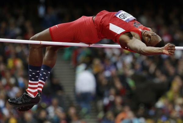 Erik Kynard of the U.S. clears the bar in the men's high jump final. He finished second in the event.