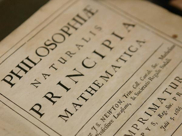 A copy of Philosphiae Naturalis Principia Mathematica by Sir Isaac Newton at the Science Museum Library and Archives in Swindon, England.