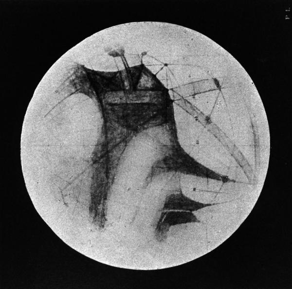 "Percival Lowell's drawings of ""canals"" on Mars."