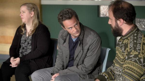 Sarah Baker as Sonia, Matthew Perry as Ryan King, and Brett Gelman as Mr. K in the new comedy <em>Go On</em><em>.</em>