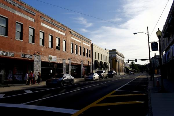 Plant City draws politicians because of its location in a swing county, in a swing state. Seen here is the commercial district of the historic downtown.