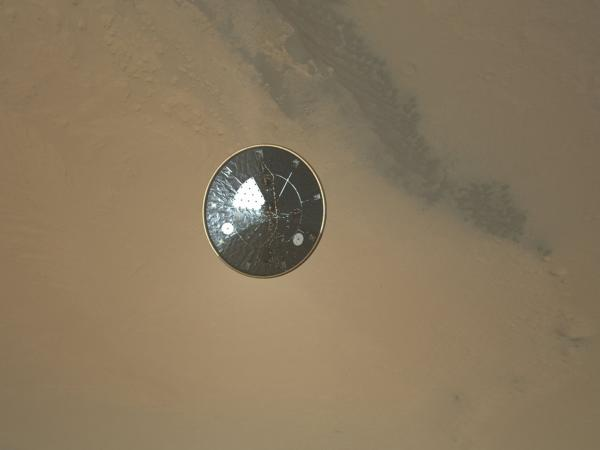 The heat shield as seen by a descending Mars Curiosity Rover.