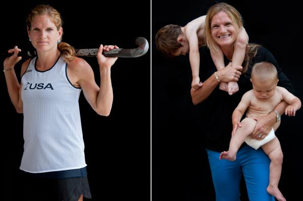 Keli Smith Puzo, field hockey, with sons Xavi and Ian.