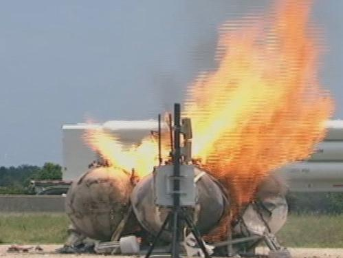A screengrab of NASA's moon lander in flames.