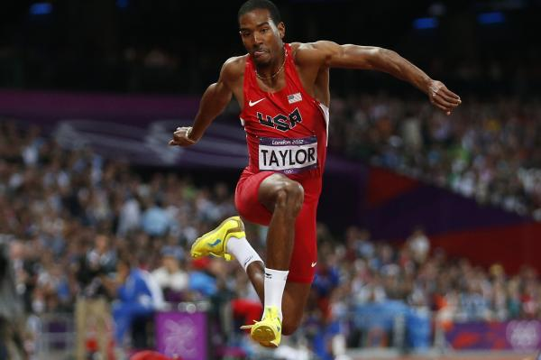 Christian Taylor of the U.S. competes in the men's triple jump final. He placed first in the event.