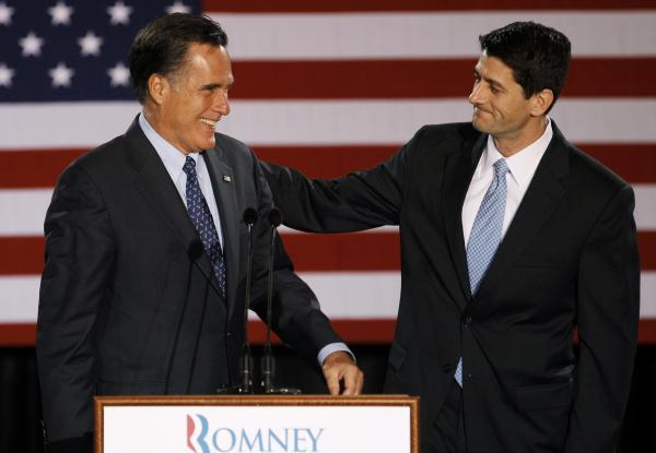 House Budget Committee Chairman Rep. Paul Ryan, R-Wis. introduces Republican presidential candidate Mitt Romney on April 3, 2012.