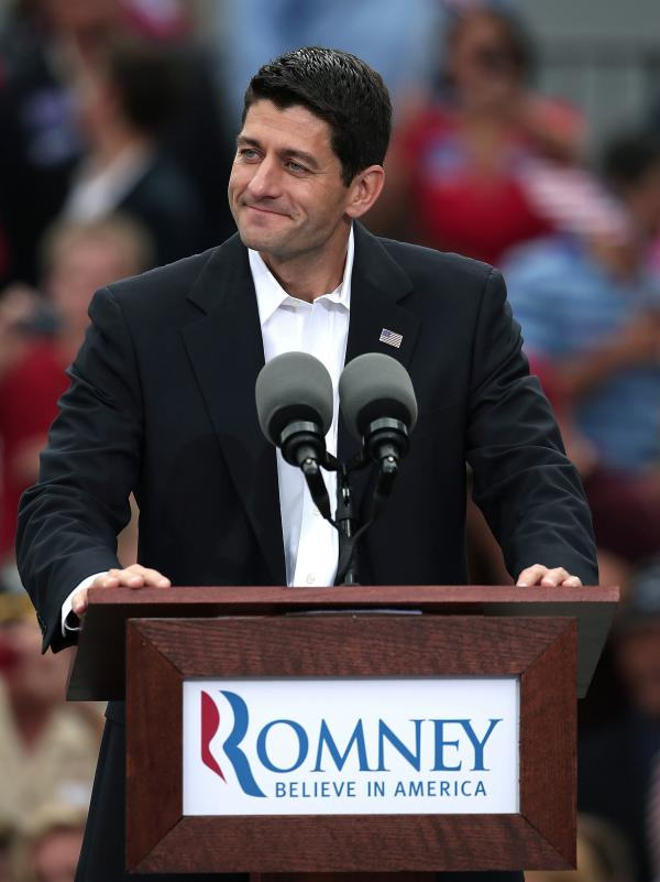 Rep. Paul Ryan of Wisconsin speaks after being announced by Republican presidential candidate Mitt Romney as his running mate in front of the USS Wisconsin in Norfolk, Va., on Saturday.