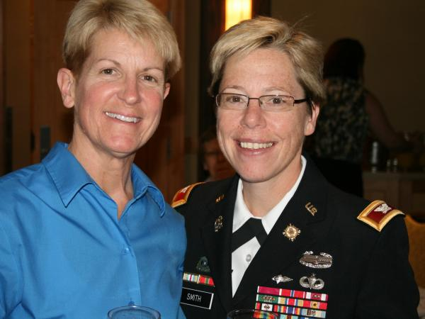 Army Brigadier General Tammy Smith, right, with her wife, Tracey Hepner.