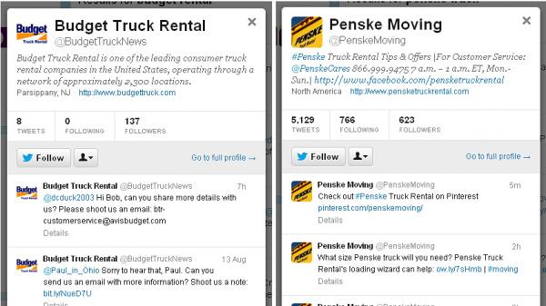 For customer Laura Hargrove, the choice between moving-truck companies Budget and Penske came down to how they use Twitter.