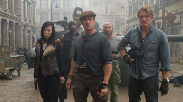 Yu Nan (front left), Sylvester Stallone, Dolph Lundgren, Terry Crews (back left) and Randy Couture are most of the hard-charging team in <em>The Expendables 2.</em>