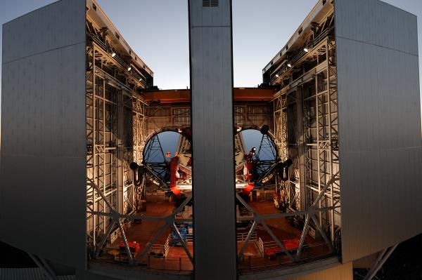 Roger Angel's mirror technology is now used in many large telescopes around the world, including this one, the Large Binocular Telescope at the Mount Graham International Observatory in Arizona. Its twin mirrors can produce images 10 times sharper than the Hubble Space Telescope.
