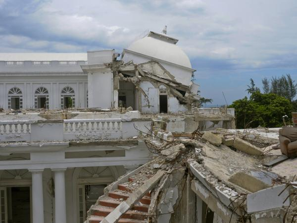 A view of the collapsed cupola of the National Palace is seen in Port-au-Prince on Aug. 13. The palace, which was destroyed in the 2010 earthquake that killed an estimated 200,000 people, was supposed to be demolished, but the plans have been put on hold.