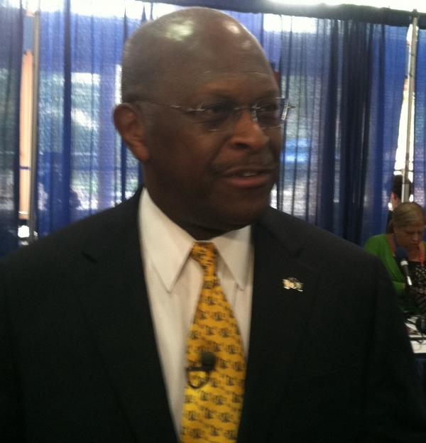 Herman Cain on Monday at the Tampa Convention Center.