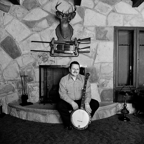 "<em>Ralph Stanley at Home,</em> Coeburn, Va., 1974. ""As bluegrass heroes go, Ralph Stanley is right up there with Bill Monroe. He began performing with brother Carter as the Stanley Brothers in 1946, and their old-time mountain sound has been hugely influential."""