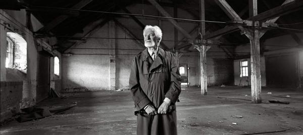 Toman Brod, born in 1929, in a World War II vintage rail building ... from where he was deported, Prague, June 2012.