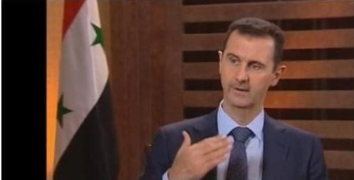 Screen grab from Syrian President Bashar Assad's televised interview.