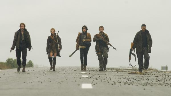 Trekking through a post-apocalyptic world in <em>The Day,</em> haggard survivors Adam (Shawn Ashmore), Mary (Ashley Bell), Shannon (Shannyn Sossamon), Rick (Dominic Monaghan) and Henson (Cory Hardrict) come upon a farmhouse that may provide much needed shelter and supplies — as well as hidden dangers.