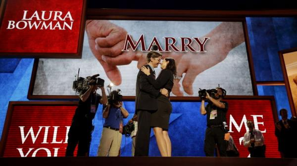 Bradley Thompson proposes to his girlfriend Laura Bowman on the stage of the Republican National Convention this morning in Tampa.