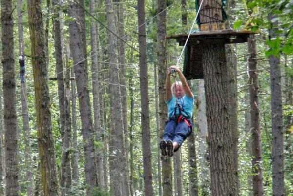 Some zip line courses -- like this one at Northwest Trek -- add aerial challenges between the various zip descents. Photo courtesy of Northwest Trek