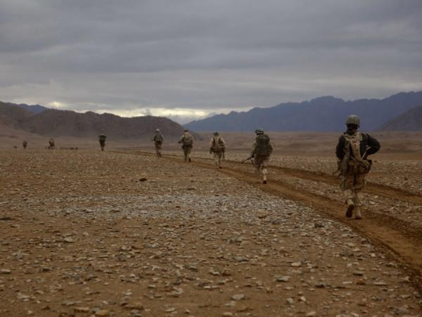 <p>Marines of the 3rd Battalion, 5th Regiment conduct a search operation in Sangin district, Afghanistan, on Feb.18, 2011. Roadside bombs were a constant threat on such patrols.</p>