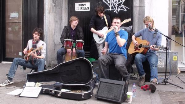 A local street band busks in Galway.