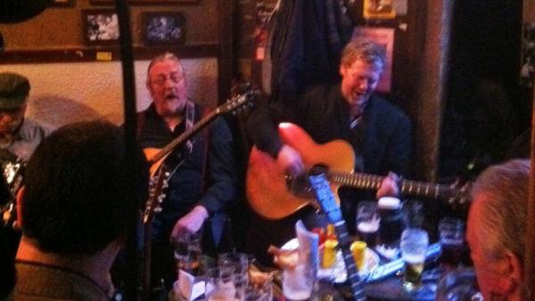 Glen Hansard sits in with a group of traditional Irish musicians at the Dublin pub O'Donoghues.