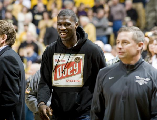 Ahead of signing day, wide receiver Dorial Green-Beckham of Springfield, Mo., was the highest-ranking recruit who had yet to announce his college choice. Here, he visits a basketball game at the University of Missouri.