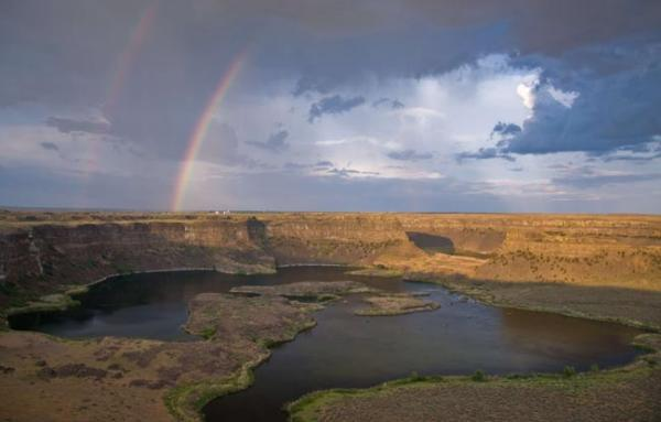 "A new book ""On the Trail of the Ice Age Floods: The Northern Reaches"" is out, it details how geologic features in the Northwest were formed, like the Dry Falls in Washington, shown here. Photo by Bruce Bjornstad"