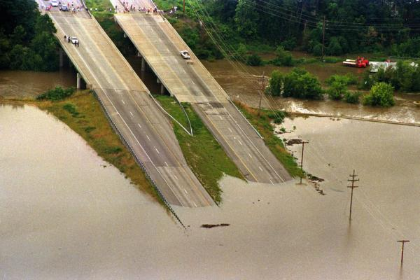 Highway 40, heading west from St. Louis, is submerged in floodwaters as it dips into the Chesterfield Valley in Missouri, 1993.