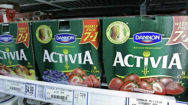 Packages of Activa yogurt, which contain probiotics, on a grocery shelf in Chicago.