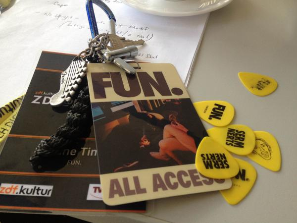 <strong>All Access</strong><strong>: </strong>fun. guitar picks alongside tech Shane Timm's keys and back stage pass for the band's European tour.