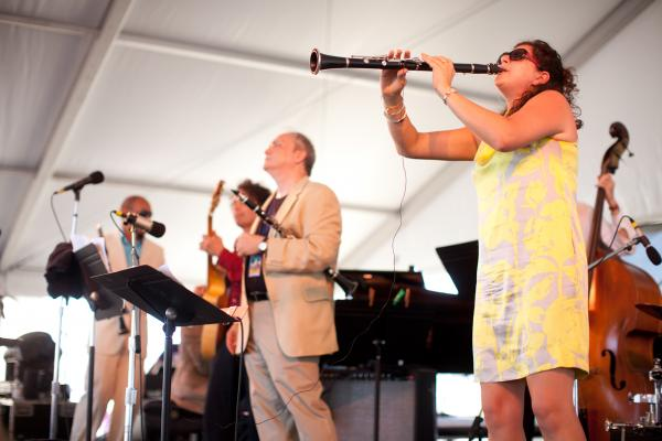 '8/4/12 Newport, RI. — The 3 Clarinets: Ken Peplowski, Evan Christopher and Anat Cohen play on the Harbor Stage at the Newport Jazz Festival August 4, 2012.  Photo by Erik Jacobs for NPR.'