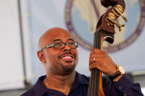 '8/4/12 Newport, RI. — Christian McBride and Inside Straight play on the Harbor Stage at the Newport Jazz Festival August 4, 2012.  Photo by Erik Jacobs for NPR.'
