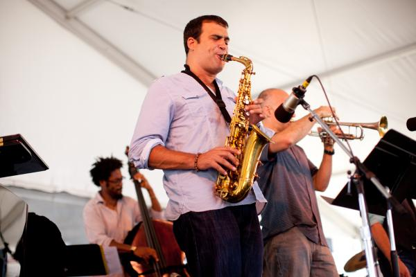 '8/4/12 Newport, RI. — The Dafnis Prieto Sextet plays the Harbor Stage at the Newport Jazz Festival August 4, 2012.  Photo by Erik Jacobs for NPR.'