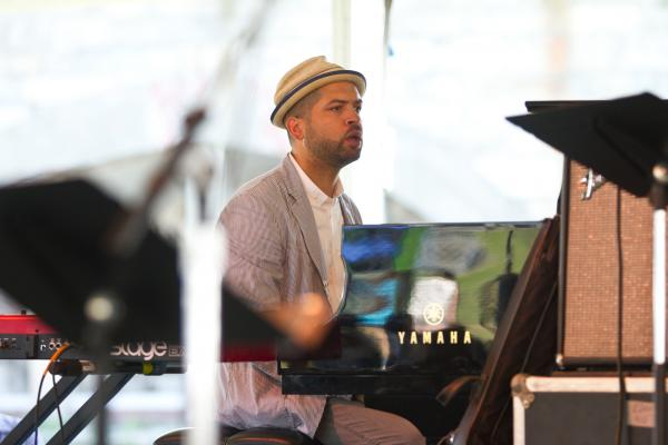 '8/4/12 Newport, RI. — The Jack Dejohnette All Stars play an interlude with Jason Moran on the piano at the Quad Stage at the Newport Jazz Festival August 4, 2012.  Photo by Erik Jacobs for NPR.'