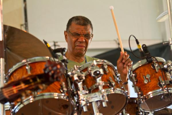 Jack DeJohnette, shown here jamming with an all-star group, has a long history with Newport: He played in the Miles Davis Quintet when it came to the festival in 1969.