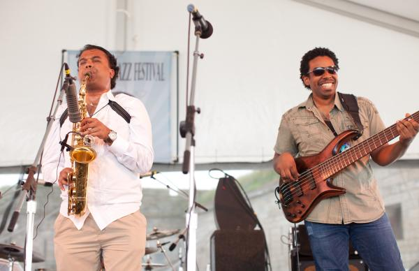 "Rudresh Mahanthappa presented music from his album <em>Samdhi</em> with a quartet featuring bassist Rich Brown. The alto saxophonist told the audience he was inspired by doping at the 1996 Olympics (""Enhanced Performance"") and the leader of the Rent Is Too Damn High Party (""breakfastlunchanddinner"")."