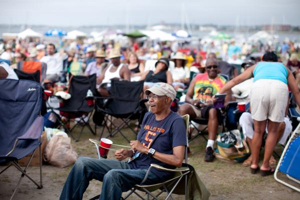 A large and relaxed crowd scattered about the Fort Stage plain for the closing Tedeschi Trucks Band performance.