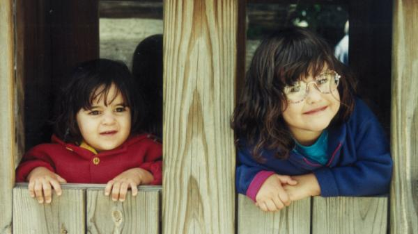 Sisters Michaela and Jessie circa 1996, around the same time they began to leave phone messages at work for their mother, <em>Morning Edition</em> producer Cindy Carpien.
