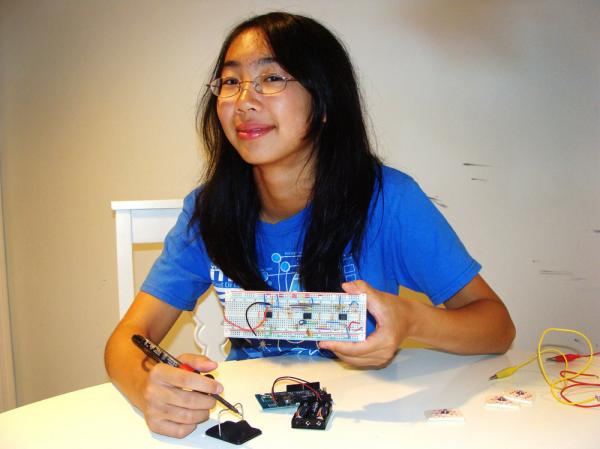 Catherine Wong used electrical components to build an electrocardiogram that sends data by cellphone.