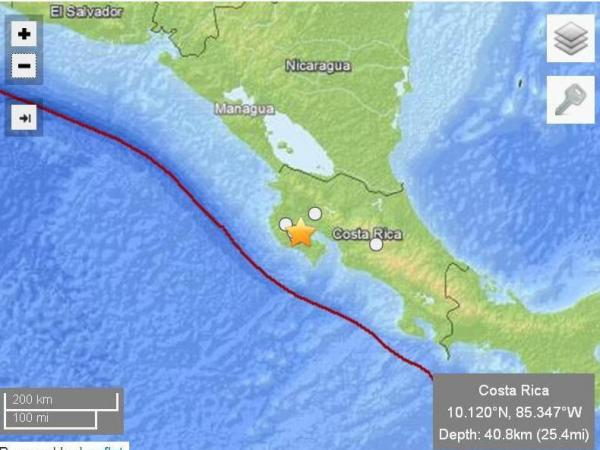 The star marks the epicenter of today's earthquake in Costa Rica.