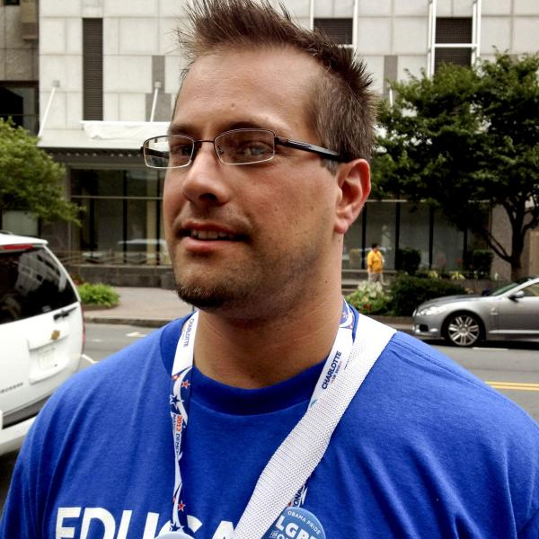 Delegate Mike Evans, 34, is a high school teacher in Missouri.