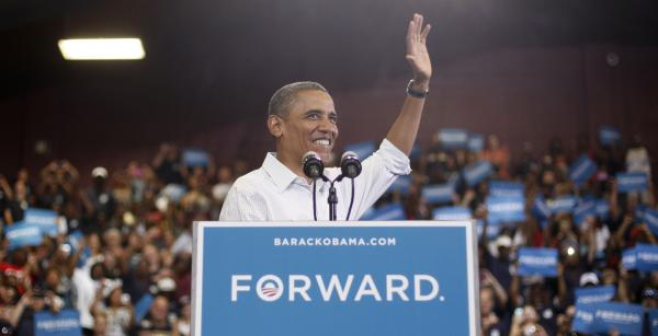 President Obama speaks during a campaign event at a high school in Toledo, Ohio.