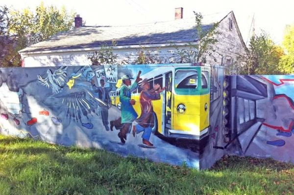 Part of the wall that was built in 1940 has since been painted over with a mural.