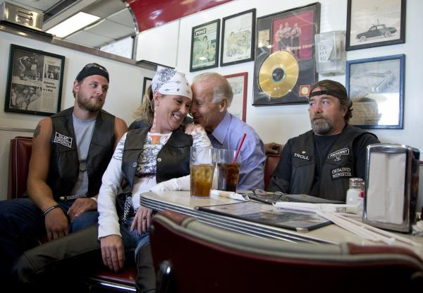Vice President Joe Biden's talks to customers during a stop at Cruisers Diner in Seaman, Ohio on Sunday.