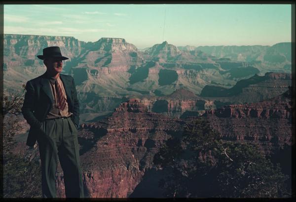Charles W. Cushman gazes across the Grand Canyon in Arizona, November 1939