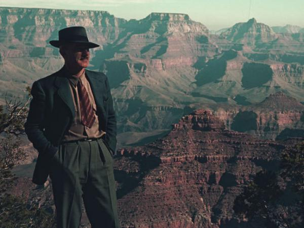 Charles W. Cushman gazes across the Grand Canyon in Arizona, November 1939