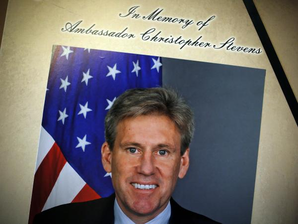 A portrait of Ambassador J. Christopher Stevens is placed along with a condolence book at the U.S. Capitol on Friday. Stevens and three other Americans were killed in an attack on the U.S. Consulate in Benghazi, Libya, on Tuesday.