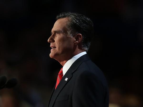 Republican presidential candidate, former Massachusetts Gov. Mitt Romney delivers his nomination acceptance speech during the final day of the Republican National Convention